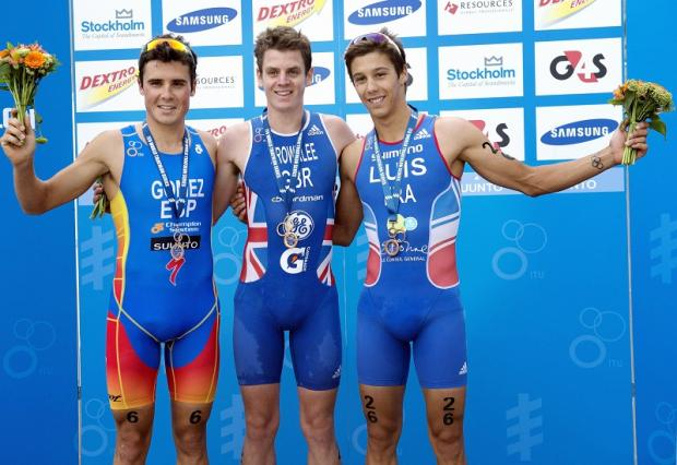 SWEDISH SUCCESS: Jonny Brownlee, centre, in Stockholm