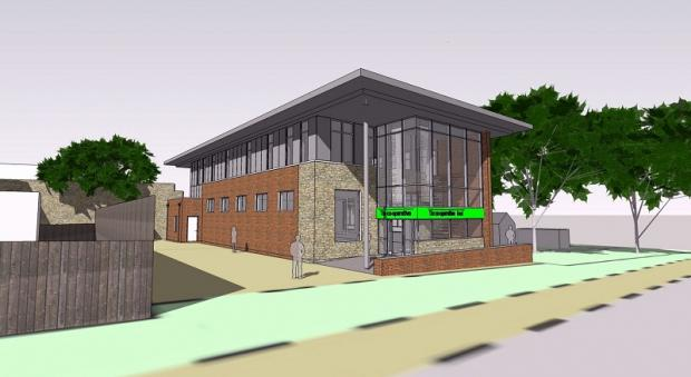 An artist's impression of how the combined library and Co-op store development at Burley-in-Wharfedale would have looked