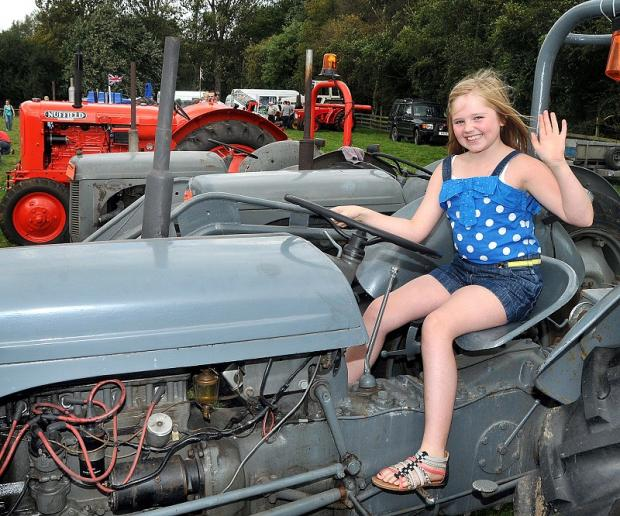 Ellie Moores, nine, from Yeadon, on board a 1952 Ferguson TD tractor
