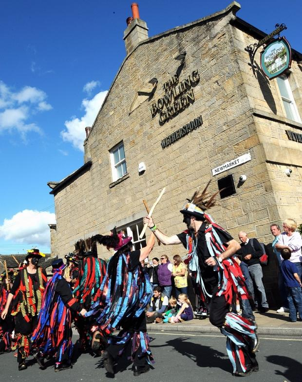 Morris dancers in action