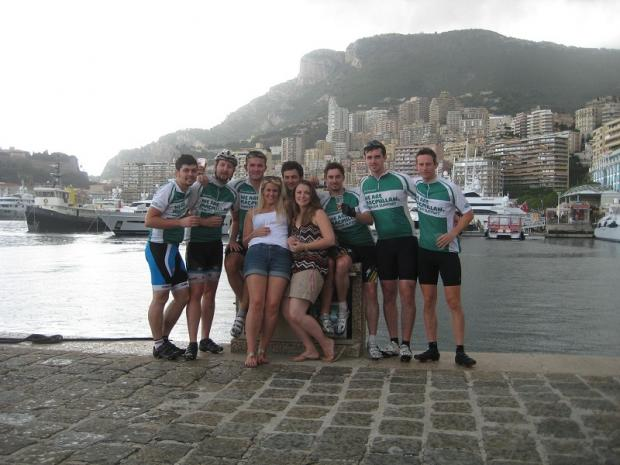 Pictured at Monaco Harbour are Joe Morgan, Richard Hudson, Rob Williams, Emily Green, Tom Lloyd-Hughes, Ellie Hallam, Chris Grant, Paul Leader-Williams and Richard Stewart
