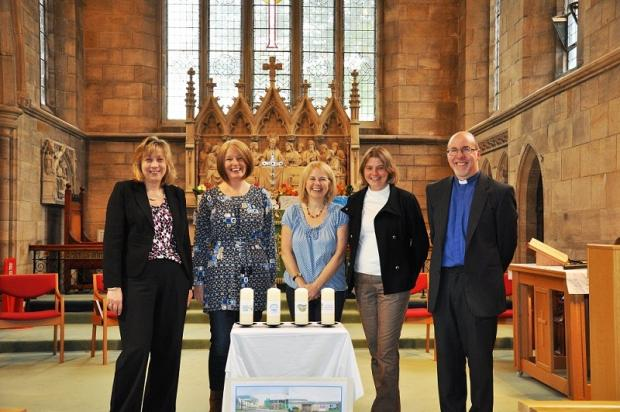 The Reverend Richard Walker in St John's Church for the special schools service with, from left, Alison Anslow, Rufford Park Primary, Andrea Walker, Rawdon Littlemoor, Melanie Whitehead, Yeadon Westfield Infants, and Liz Holmes, Yeadon Westfield Juniors