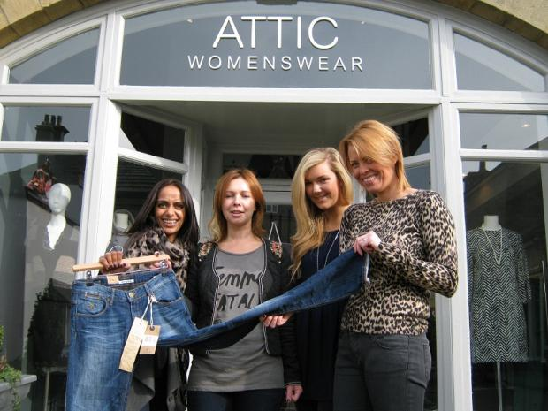 Attic Womenswear staff, right, Nargas Harrison, Sarah Lyles, Katie Hope-Robertson and Katharine Collinge supported Jeans for Genes day