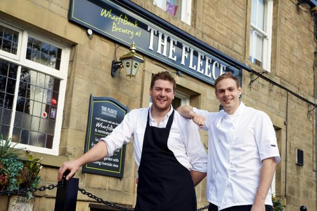 The new team at Otley's The Fleece pub are manager Oliver Renton, left, and head chef Simon Miller
