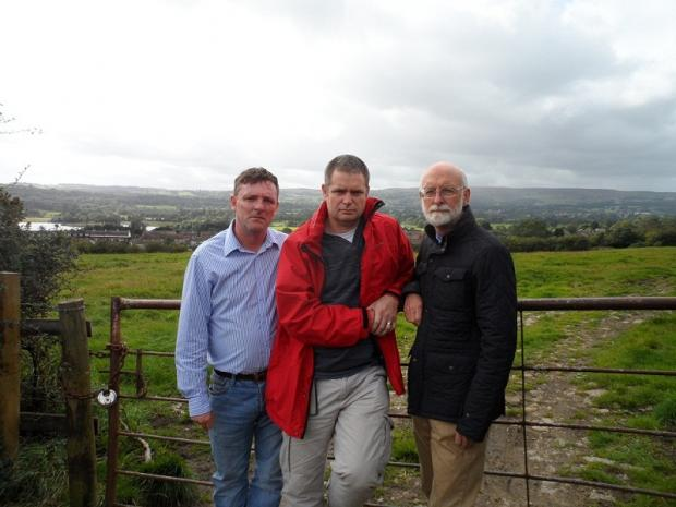 Councillors Sandy Lay, Ryk Downes and Colin Campbell at the Otley housing site