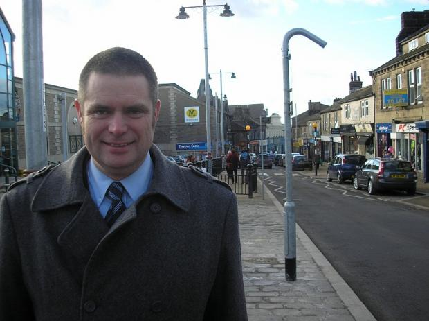 Councillor Ryk Downes in Yeadon High Street, which will be resurfaced