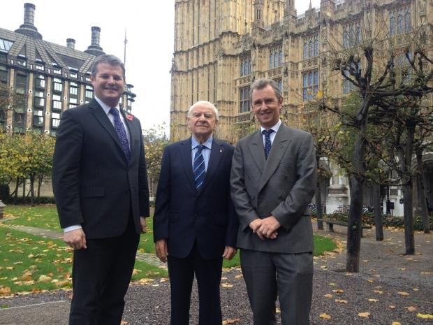 Wharfedale Observer: Stuart Andrew MP (left) with Countdown creator Marcel Stellman (centre) and Nigel Evans, the deputy speaker of the House of Commons
