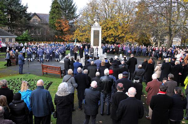 The Remembrance Day service in Ilkley's Memorial Gardens