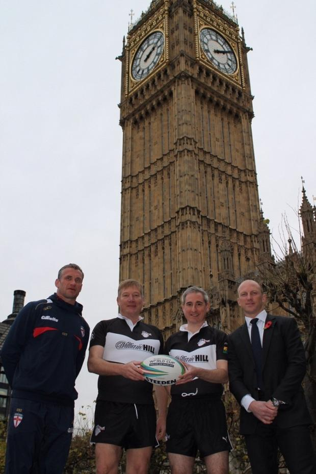 Former England and Great Britain RL captain Jamie Peacock, MPs Kris Hopkins and Greg Mulholl-and and former Australian captain Darren Lockyer promote the next rugby world cup