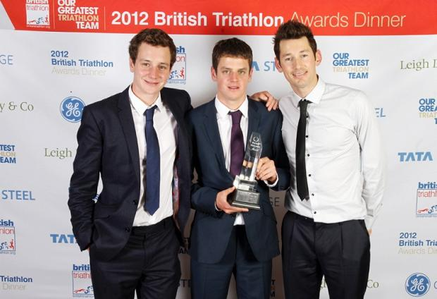 Alistair Brownlee, Jonny Brownlee and Stuart Hayes with the Peter Holmes Award