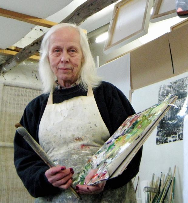 Joy Godfrey, one of the artists who used the studio in Back Nelson Road, Ilkley