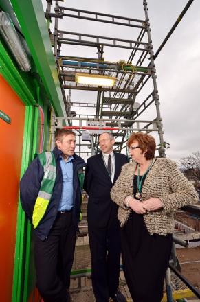 Project manager Jason Pink, vice-principal of corporate affairs Andy Welsh, and college principal Michele Sutton on site