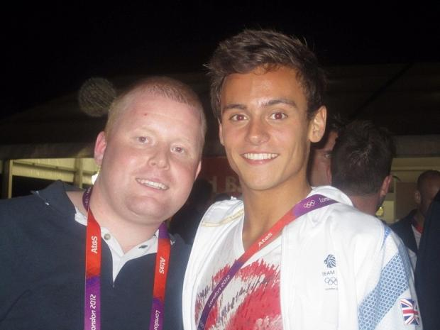 Runner Andy Sharpe with Tom Daley at last summer's London Olympics