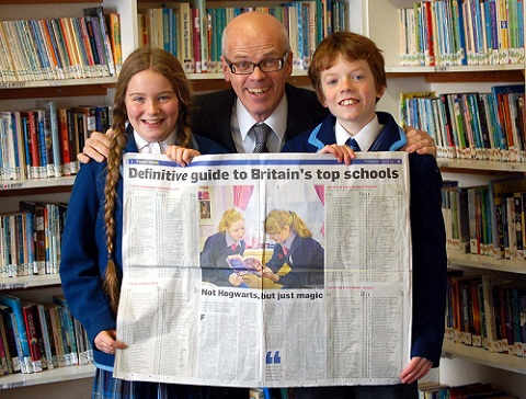 Charles Holloway, pictured here with two of his Westville House pupils