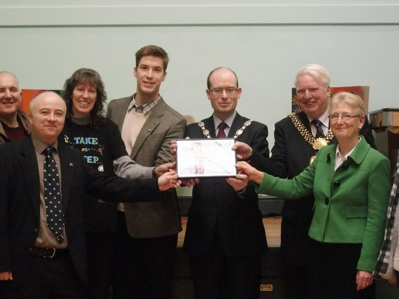 Supporters and dignitaries in Ilkley were presented with a Fairtrade Region certificate by the Fairtrade Foundation