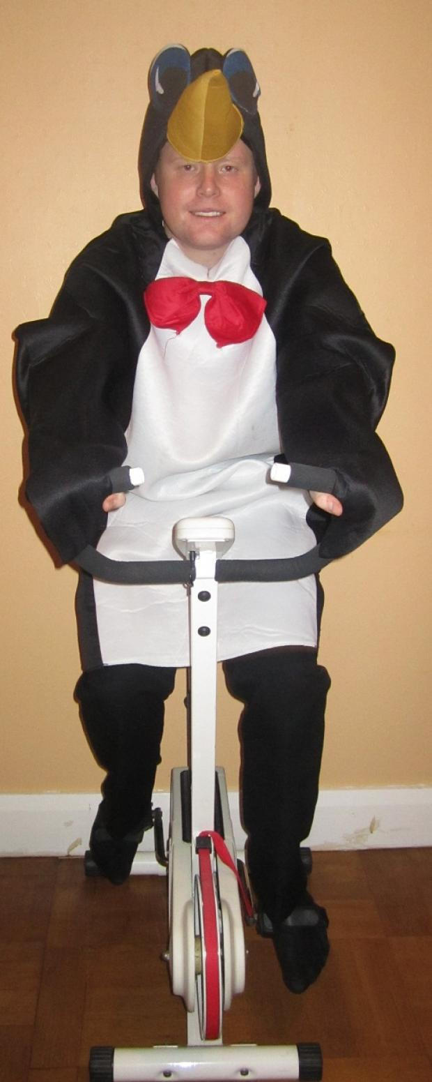 Ben Rhydding man gets training for marathon as penguin!