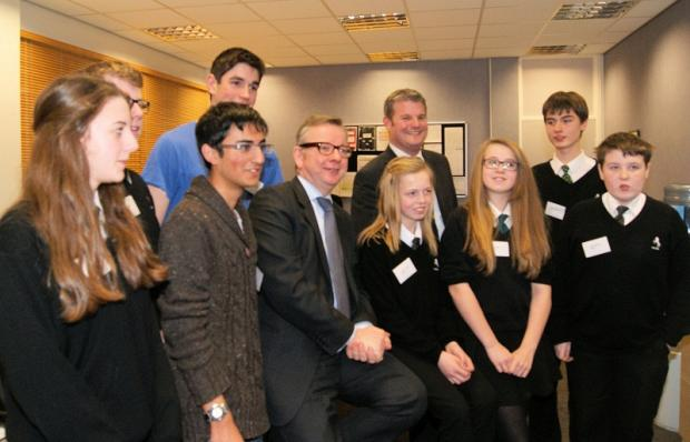 Michael Gove (centre left) and Stuart Andrew MP with school council members