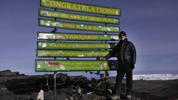 Addingham's Jon Shaw at the summit of Mount Kilimanjaro