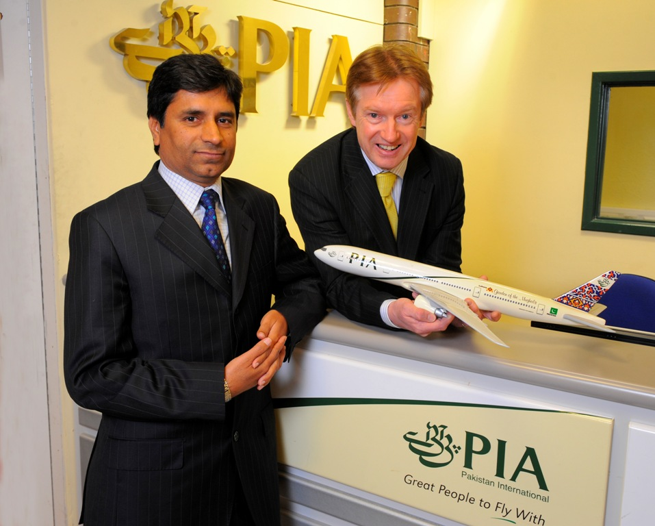 PIA's Muhammad Shafique, left, and Leeds Bradford Airport's Tony Hallwood welcoming the introduction of Pakistan International Airlines' Boeing 777 operations from LBA to Islamabad back in February 2013