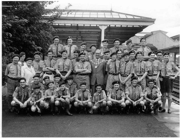 Leaders and senior Scouts setting off from Ilkley Station, on August 5, 1961,  for the summer camp in Holland