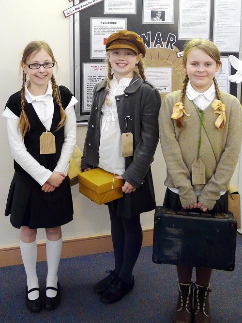 Year 5 and 6 pupils at All Saints C of E Primary School in Ilkley dressed as evacuees to take part in a World War II Day