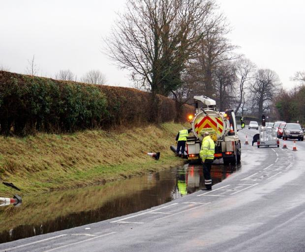 Flooding on the road between Otley and Pool-in-Wharfedale