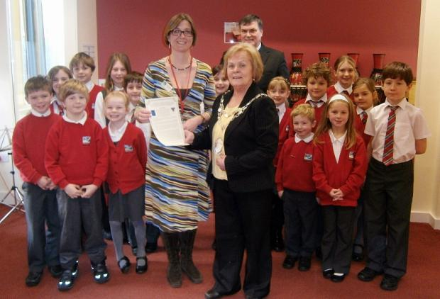 Headteacher Helen Carpenter with Otley town mayor Councillor Mary Vickers and mayor's consort Councillor Jim Spencer, meeting school council pupils at Westgate Primary