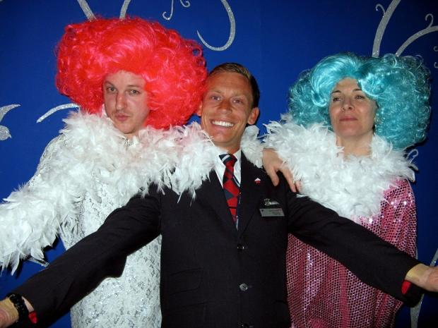 Ted Oxley with two cast members from La Cage Aux Folles which is opens at Yeadon Town Hall next week