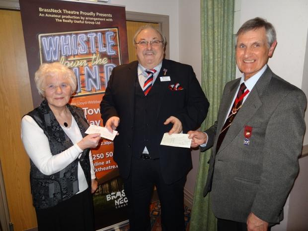 Stella Appleyard with Kevin Mitchell of Help for Heroes, and her husband Leslie, president of BrassNeck Theatre