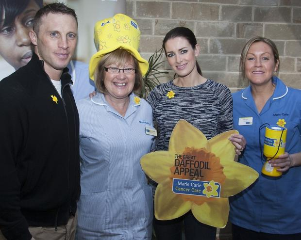 Paul Sampson and wife, Kirsty Gallacher, with registered nurse Carol Dorrell, left, and ward sister Louise Taylor
