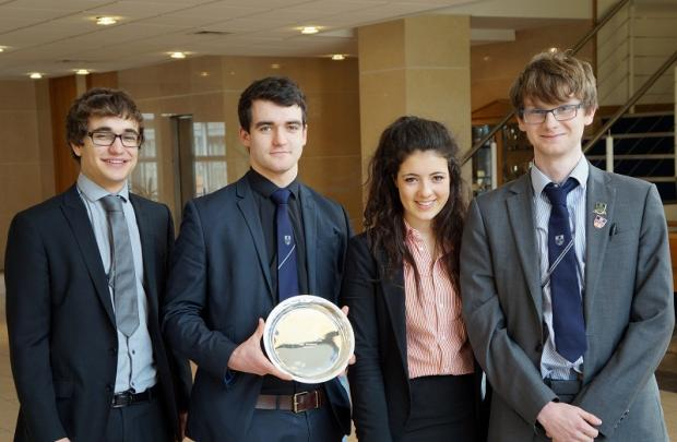 Finalists in the Bank of England competition, left to right, Daniel Gross, Calum Grant, Annabel Asquith and Stuart Duffy