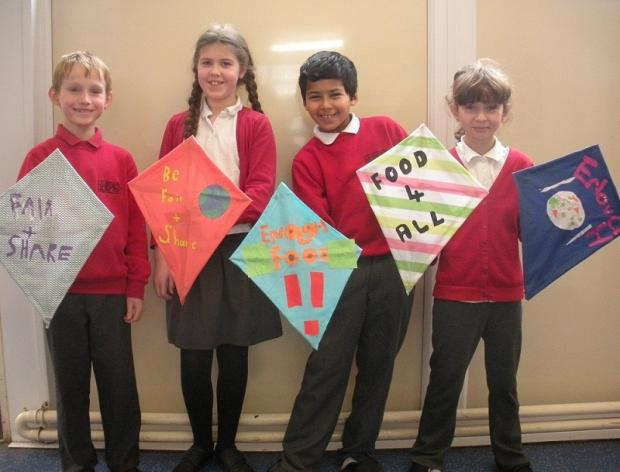 Children from Bramhope Primary School who are taking part in the kite event, from the left, Luke Schoeman, Ailsa Madill, Dylan Nila and Sandra Kusmider