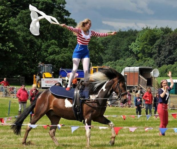Wharfedale Observer: An acrobat on a galloping horse