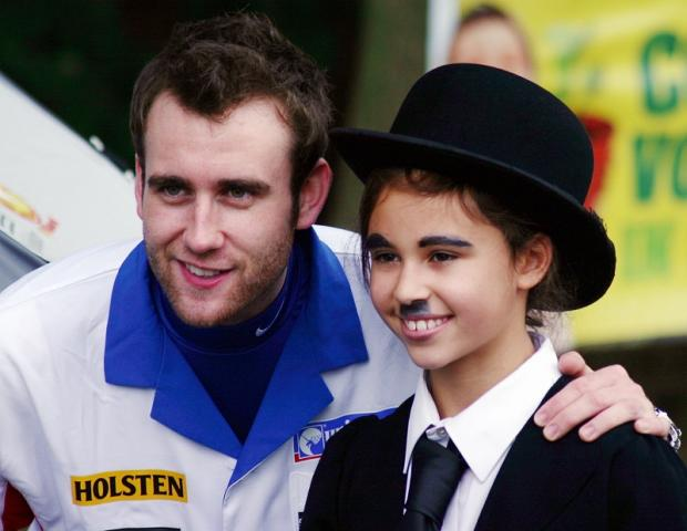 Harry Potter and ITV series The Syndicate actor Matthew Lewis with 13-year-old fundraiser Bethany Hare