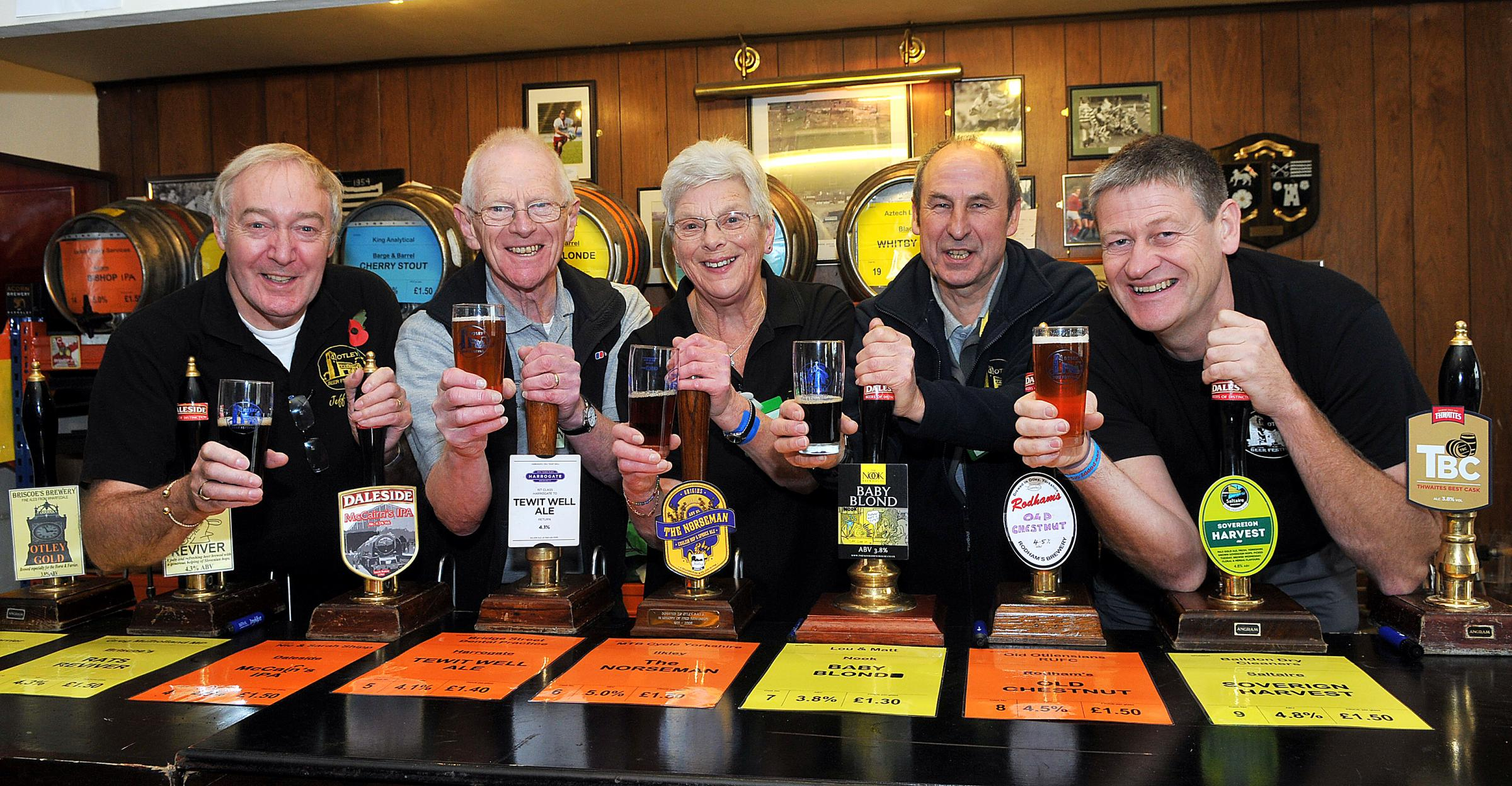 Ready for the off at Otley Beer Festival are, from the left, Jeff Utley, Allan Boddy, Margaret Holmes, Alan Raw and Mark Rothery