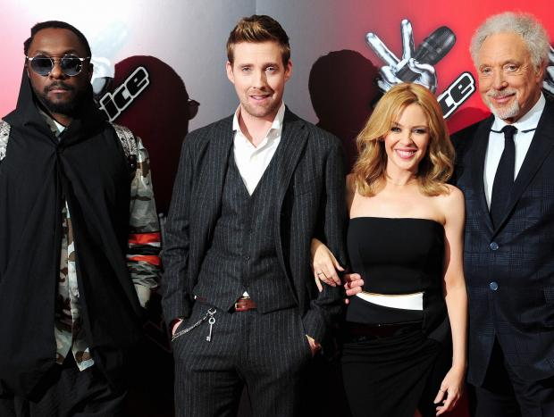 The new line-up for The Voice, from left, shows Will.i.am, Ricky, Kylie and Sir Tom.