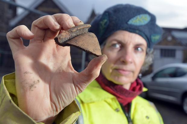 Wharfedale Observer: Caroline Emery holding a piece of what could be Roman storage jar