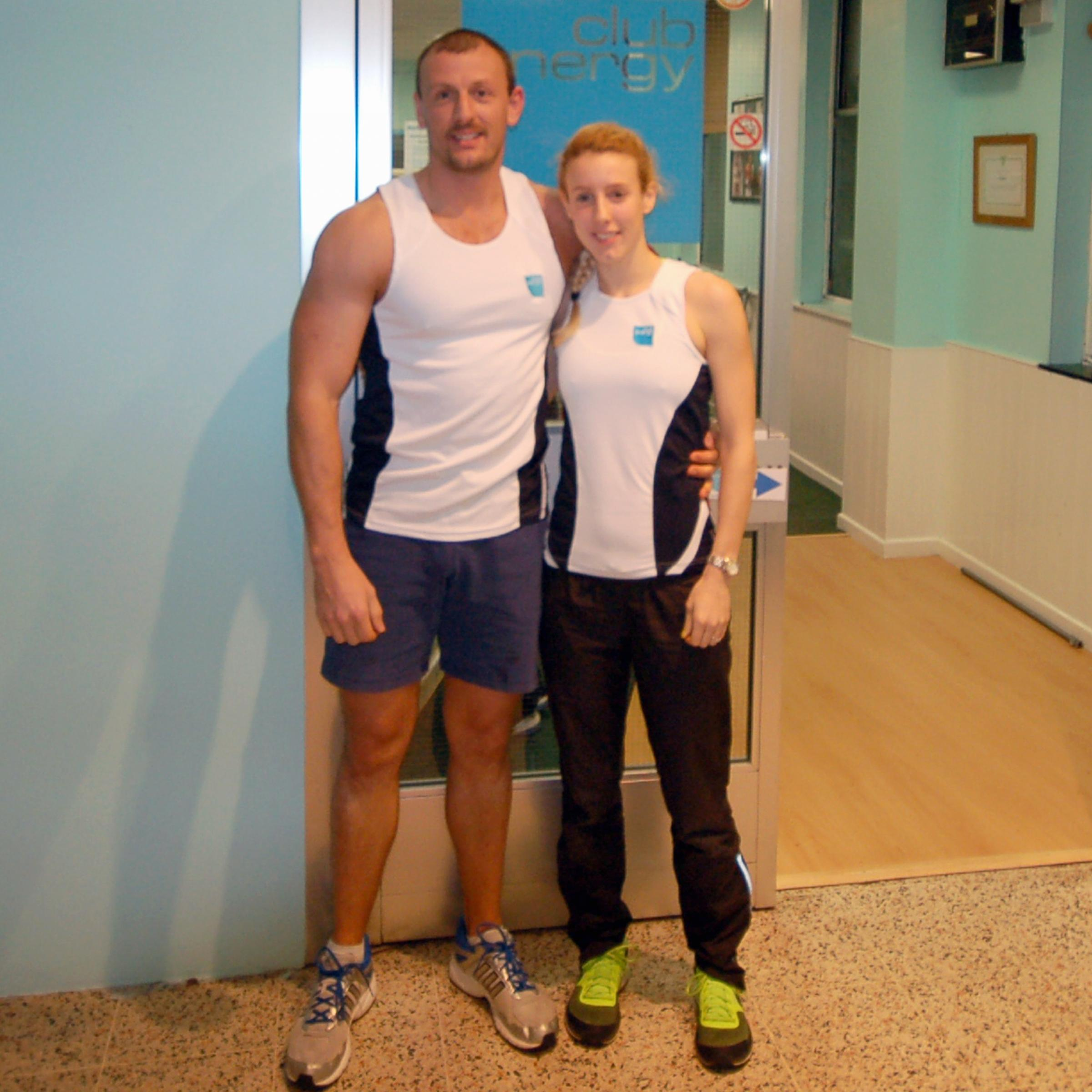 Otley runner Racheal Bamford, with Club Energy gym owner