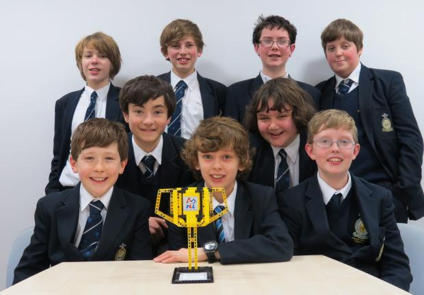Best Robot Design team from Prince Henry's Grammar School with their trophy, with lead designer Andrew Tillotson (centre)