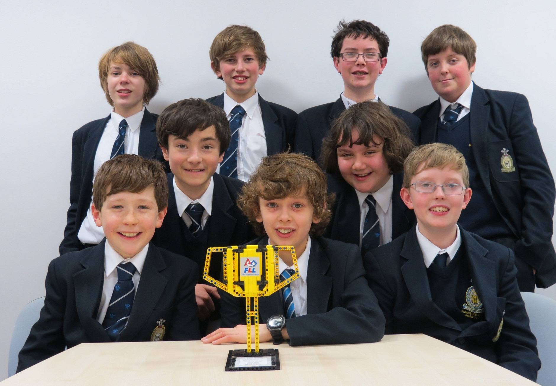 Best Robot Design team from Prince Henry's Grammar School with their trophy, with lead designer Andrew
