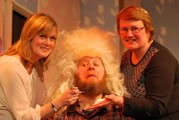 Director Eleanor Ellis and the musical director Vickie Burns take the drastic step of forcing the Dame (Paul Jennings) to lose his beard for the Addingham pantomime