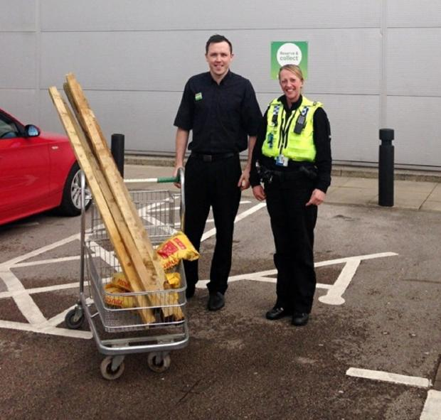 Johnny Arbuckle, manager of Homebase, with PC Sam Emsley