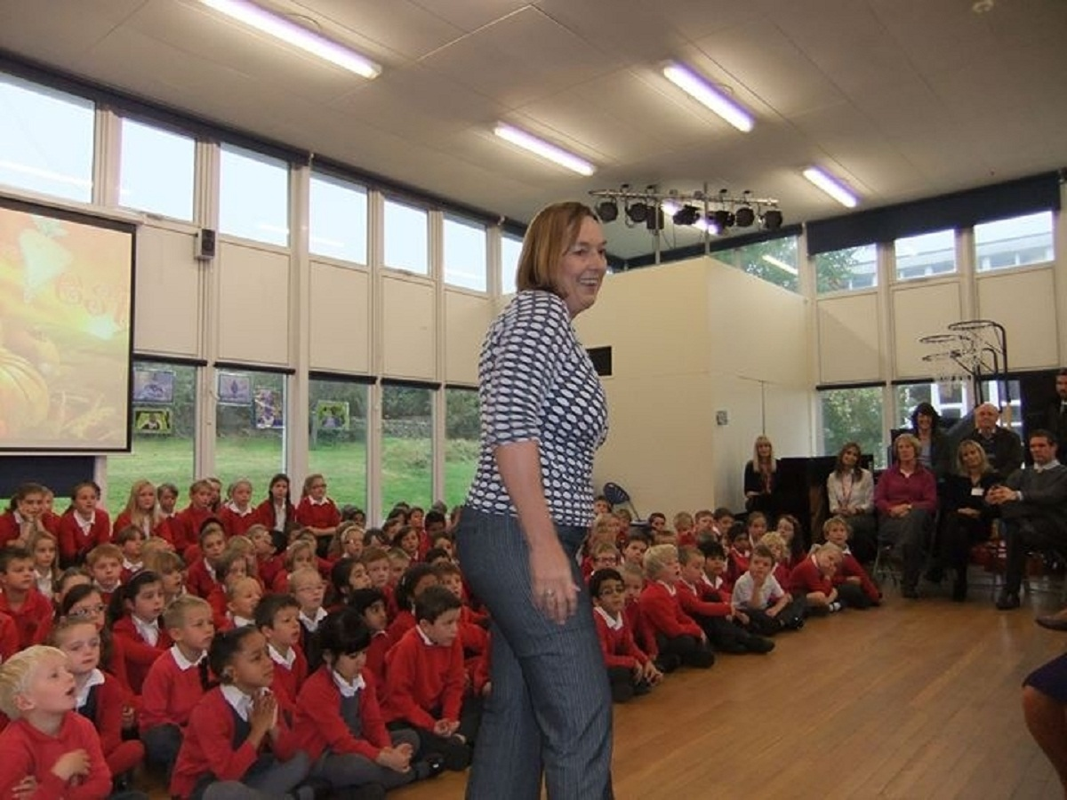 Karen Shackleton teaching young children at Bramhope Primary School  about Africa and her mission in Kenya