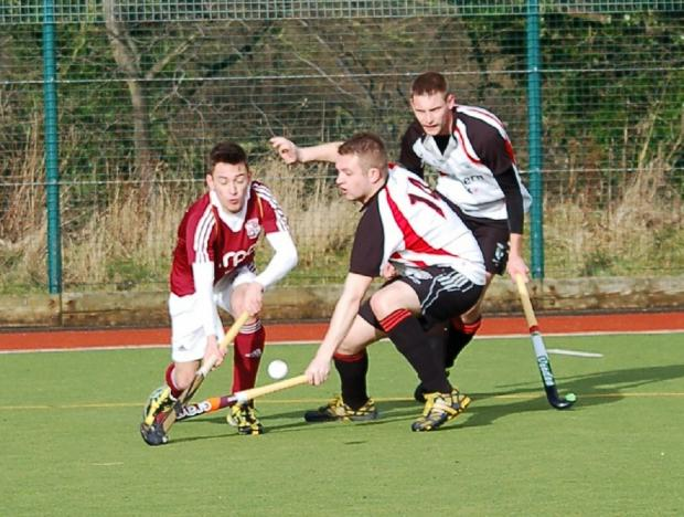 Callum Franks, seen taking on two Whitley Bay defenders, put Ben Rhydding in front