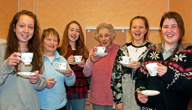 At a farewell tea party are, from left, Annabel Connor, Jenny Cotton, Katie Connor, Pam Clarke, Maisie Marshall, Rebecca Hyde