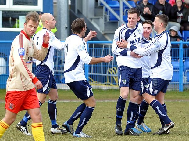 Wharfedale Observer: Jake Lawlor, third from left, opened the scoring for Guiseley in the 19th minute