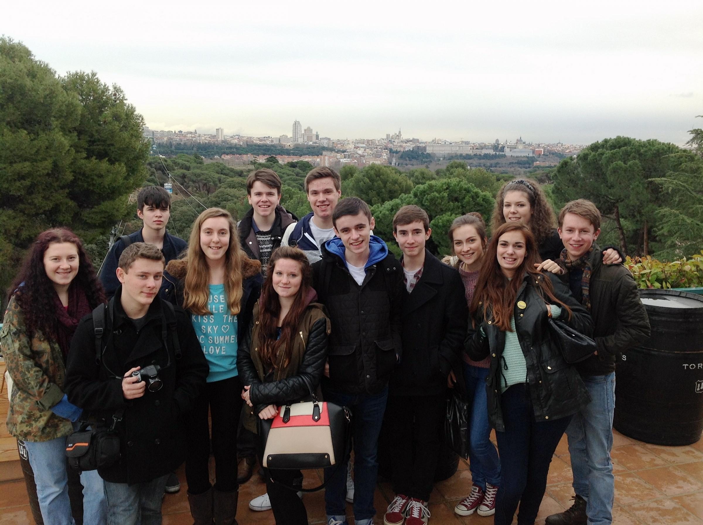 Language students from Prince Henry's Grammar School, Otley, taking in the sights of Madrid