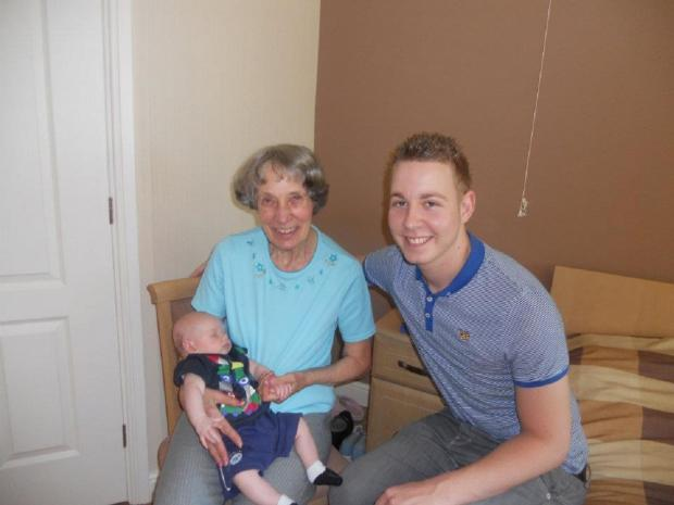 Tom Featherstone with his great grandma Jean Lee and his nephew Charlie, who was Jean's first and only great great grandson. Jean died in 2012 after suffering from dementia.