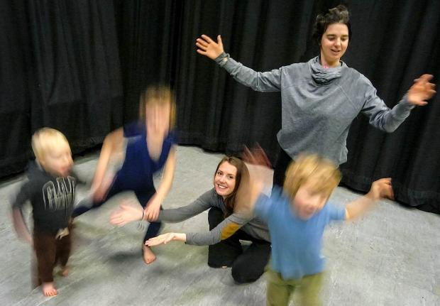 Wharfedale Observer: Children working with Grace Surman (standing, left) and Katy Raven in one of the Moor Movement creative dance classes at Ilkley Playhouse