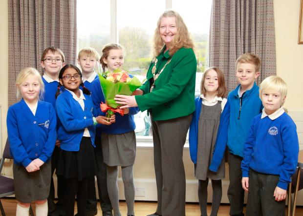 Wharfedale Observer: The Deputy Lord Mayor of Bradford, Councillor Joanne Dodds, with members of Addingham Primary School Council. Photograph by Karen Ross Photography